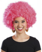 Perruque rose fluo afro disco adulte