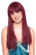 Perruque longue à frange auburn-rouge femme