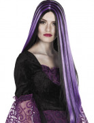 Perruque longue noire et mèches violette femme