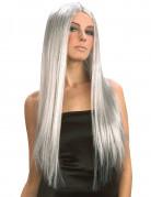 Perruque longue grise femme Halloween