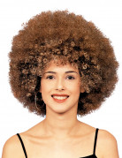 Perruque afro disco châtain adulte