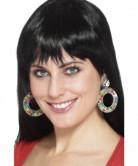 Boucles d'oreilles à pois multicolores femme