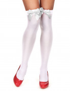 Bas blancs avec noeud blanc femme