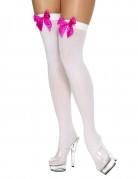 Bas blancs avec noeud rose femme