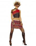 Déguisement punk  femme rouge