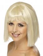 Perruque blonde au carré avec frange femme