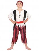 Déguisement pirate rayures noires et rouges garçon