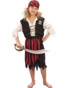 Déguisement pirate corsaire noir et rouge fille