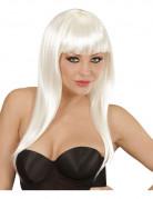 Perruque longue blanche à frange femme
