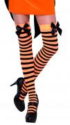 Bas rayés orange et noir avec noeud noir femme