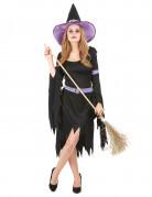 Déguisement sorcière violette et noire femme