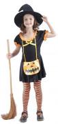 Déguisement sorcière citrouille fille Halloween