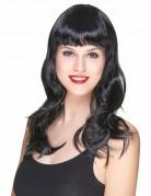 Perruque noire avec frange et ondulée femme