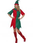 Déguisement elfe bicolore femme Noël