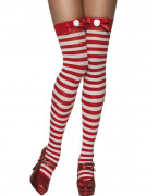 Medias a rayas rojas y blancas, ideales para Navidad, para mujer