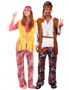 Déguisement de couple de hippies multicolores