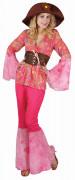 Déguisement hippie rose fluo femme
