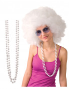 2 Colliers en perles blanches adulte
