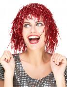 Perruque à frange métallique rouge adulte