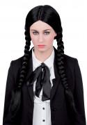 Perruque longue tressée noire femme