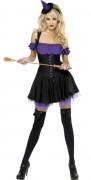 Déguisement sorcière sexy violette femme Halloween