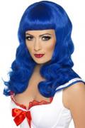 Perruque longue bleuefemme