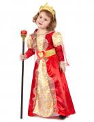 Déguisement reine rouge et or fille