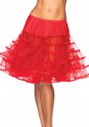 Jupon mi-long transparent rouge femme