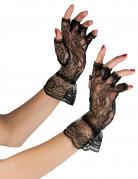 Gants noirs en dentelle femme