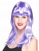 Perruque longue violette et blanche femme
