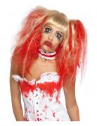 Perruque poupée blonde sanglante coifée femme Halloween