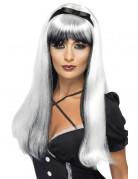 Perruque blanche et noire avec noeud noir femme