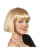 Perruque courte � frange blonde femme