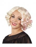 Perruque boucl�e courte blonde avec m�ches rose femme