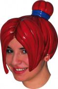Perruque manga rouge coiffure chignon en latex adulte femme