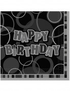 16 Serviettes en papier Happy Birthday grises 33 x 33 cm