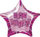 Ballon étoile rose Happy Birthday