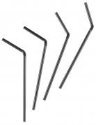 50 Pailles en plastique flexibles noires 20 cm