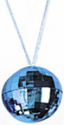 Collier boule à facette bleue