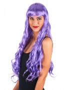 Perruque longue ondulée violette à frange femme