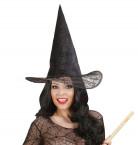 Chapeau sorcière noir toile d'araignée adulte