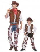 Déguisement de couple cowboy père et fils
