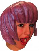 Perruque latex manga carré avec frange adulte couleur rose