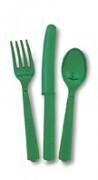 Surtido de cubiertos verde esmeralda