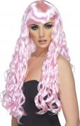 Perruque longue ondulée rose pâle femme
