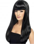 Perruque longue noire à frange femme