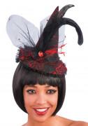 Mini chapeau sorcière dentelle rouge adulte
