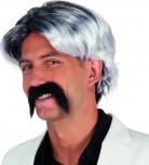 Perruque grisonnante avec moustache homme