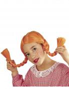 Perruque tresses orange fille