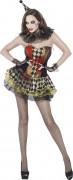 Déguisement zombie bouffon femme Halloween
